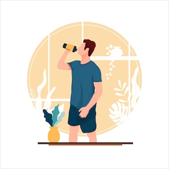 Retrato de menino bebendo em pé ilustração vetorial de conceito de design plano
