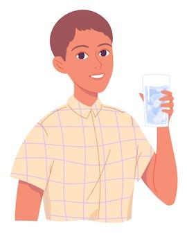 Retrato de menino com copo de água.
