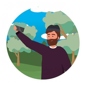 Retrato de milenar jovem smartphone smartphone selfie redondo