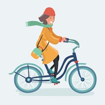 Retrato de moda ao ar livre da elegante senhora andando de bicicleta retrô hippie em vintage maxi elegante saia quente casaco e chapéu de palha. aproveite a mica outono dia de outono, posando na rua com bétulas.