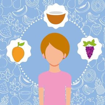 Retrato de mulher com imagem de frutas frescas orgânicas