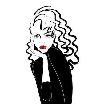 Retrato, de, mulher, com, longo, cabelo ondulado