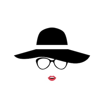Retrato de mulher de chapéu estiloso e óculos.
