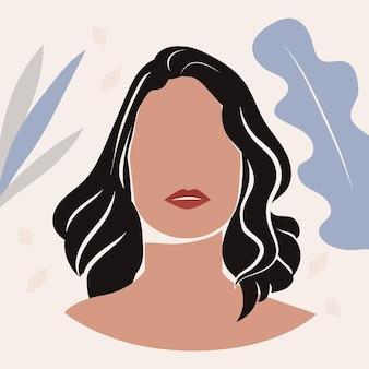 Retrato de mulher desenhada à mão abstrata