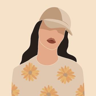 Retrato de mulher desenhado à mão abstrato ilustrado
