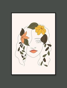 Retrato de mulher em linha de cartazes contemporâneos estéticos abstratos e minimalistas desenhados à mão