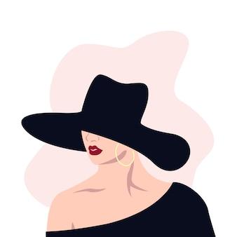 Retrato de mulher ilustração plana