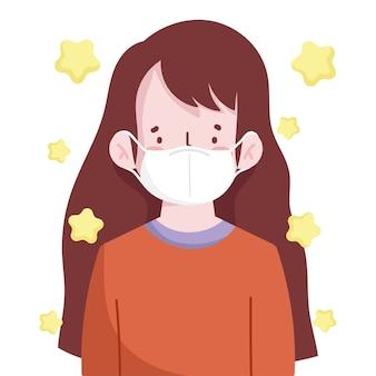 Retrato de mulher jovem com máscara médica novo normal