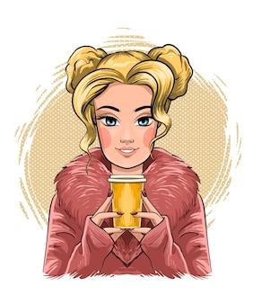 Retrato de mulher jovem e bonita desenho à mão. menina da moda com café.