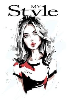 Retrato de mulher jovem e bonita.