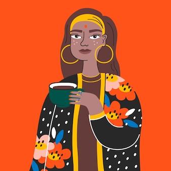 Retrato de mulher jovem indiano bonito em cores brilhantes.