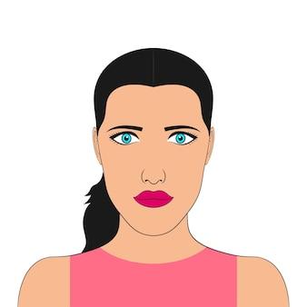 Retrato de mulher. rosto de garota. avatar feminino. ilustração vetorial.