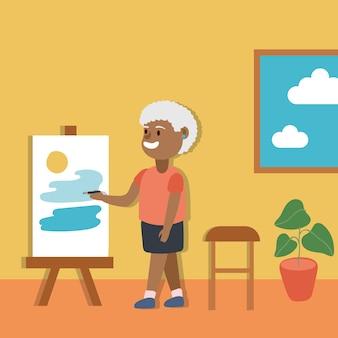 Retrato de mulher velha afro.