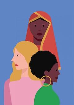 Retrato de mulheres com diversidade