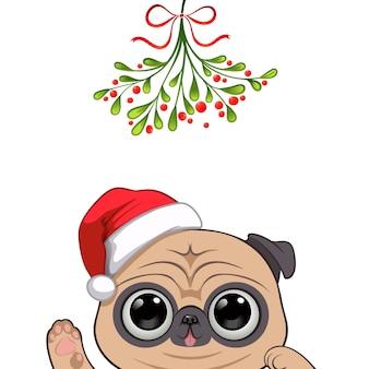 Retrato de natal de personagem cachorro fofo