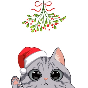 Retrato de natal do personagem gato bonito