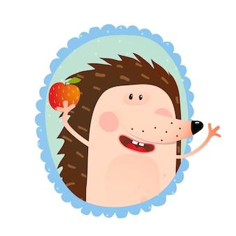 Retrato de ouriço comendo maçã.
