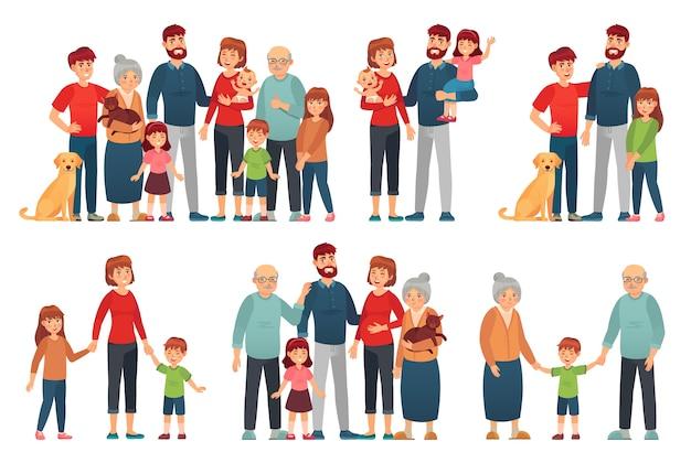 Retrato de pais e filhos felizes, velha avó e avô