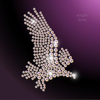 Retrato de pássaro voando feito com pedras de strass isoladas no fundo preto. logotipo da águia, ícone de pássaros selvagens. padrão de jóias, produtos feitos à mão. padrão brilhante. silhueta de águia