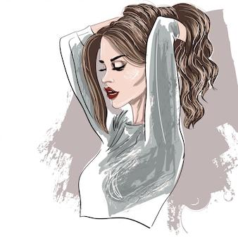 Retrato, de, perfil mulher, com, lábios vermelhos