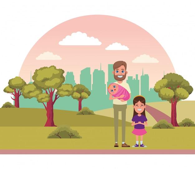 Retrato de personagem de desenho animado de avatar de família