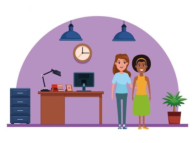 Retrato de personagem de desenho animado de avatar de mulheres