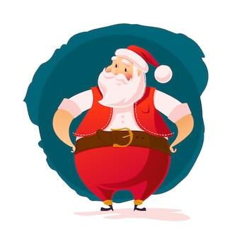 Retrato de personagem santa em fundo branco. estilo de desenho animado. feliz natal, feliz ano novo elemento de decoração de parabéns. bom para cartão de felicitações de natal.