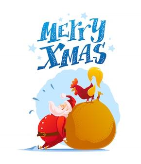 Retrato de personagens de papai noel e galo engraçado em fundo branco. estilo de desenho animado. ano novo, feliz natal, elemento de felicitações de natal. bom para cartão de férias, base,.