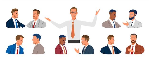 Retrato de pessoas de negócios. conjunto de vários homens de negócios com roupas de negócios, mistos de idade expressando emoções positivas. Vetor Premium