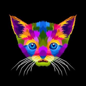 Retrato de pop art de gatos fofos coloridos