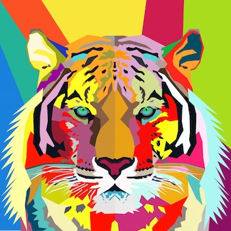 Retrato de pop art de tigre colorido