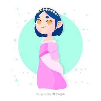 Retrato de princesa de cabelo preto desenhado de mão