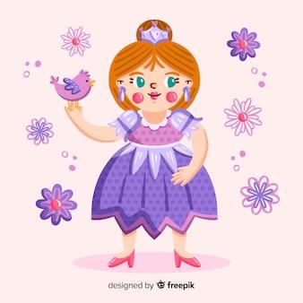 Retrato de princesa de cabelos castanhos desenhados a mão