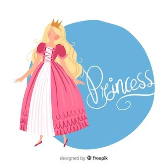 Retrato de princesa loira desenhada de mão