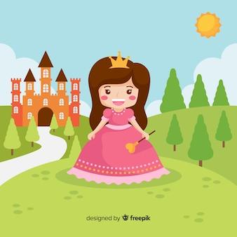 Retrato de princesa morena plana