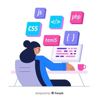 Retrato, de, programador, trabalhando, com, pc