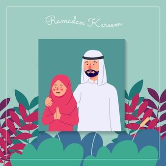 Retrato de ramadan kareem de pai e filha