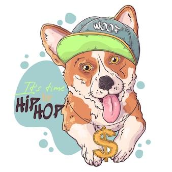 Retrato de rapper de cachorro corgi com acessórios