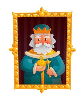 Retrato de rei dos desenhos animados