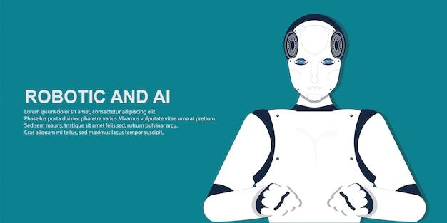 Retrato de robô humano.