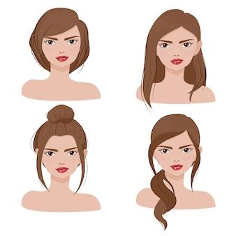 Retrato de rosto de mulher na coleção de estilo de cabelo diferente