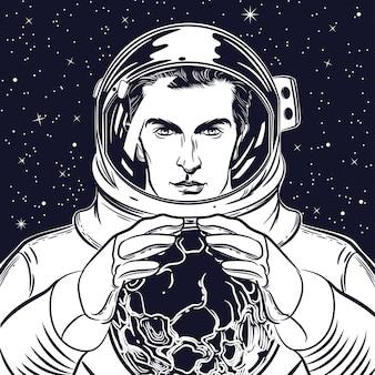 Retrato, de, um, astronauta, em, um, capacete