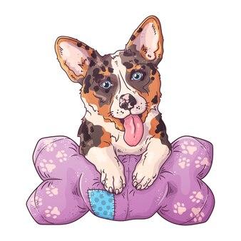 Retrato de um cão bonito corgi sobre o travesseiro.