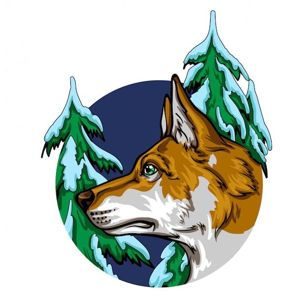 Retrato de um cão em uma floresta de inverno.