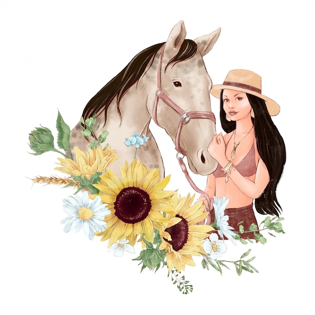 Retrato de um cavalo e uma menina em estilo aquarela digital e um buquê de girassóis e margaridas