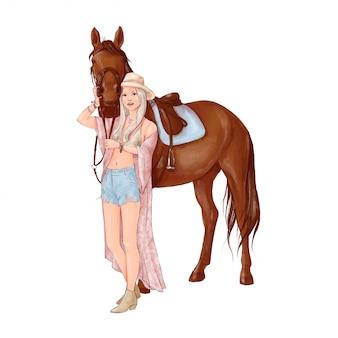 Retrato de um cavalo e uma menina em estilo aquarela digital