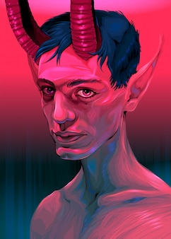 Retrato, de, um, diabo, menino