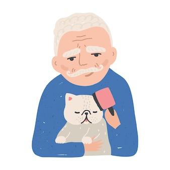 Retrato de um homem idoso segurando seu gato ou gatinho e escovando-o com o pente