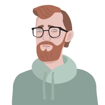 Retrato de um jovem barbudo com capuz e óculos