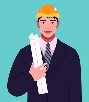Retrato de um jovem homem construtor empresário gerente designer engenheiro